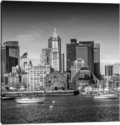 Boston Skyline | Monochrome Canvas Art Print