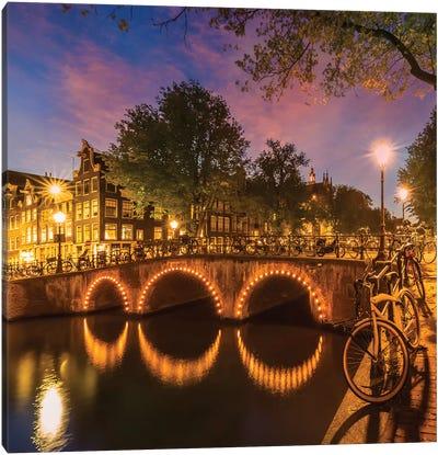 Amsterdam Keizersgracht Nightscape Canvas Art Print