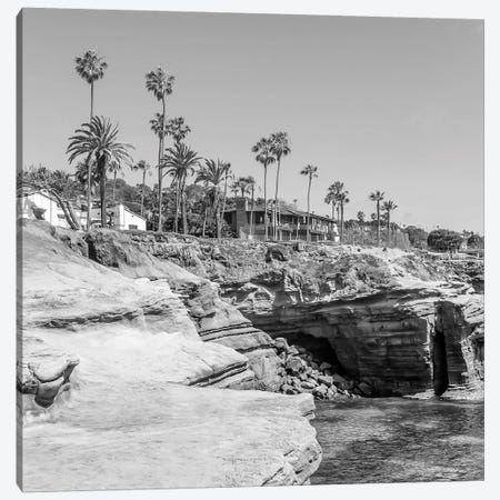 San Diego Gorgeous Sunset Cliffs | Monochrome Canvas Print #MEV501} by Melanie Viola Canvas Print