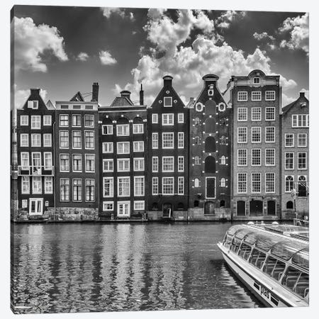 Amsterdam Damrak And Dancing Houses | Monochrome Canvas Print #MEV502} by Melanie Viola Art Print