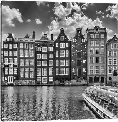 Amsterdam Damrak And Dancing Houses   Monochrome Canvas Art Print