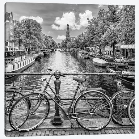 Typical Amsterdam | Monochrome Canvas Print #MEV503} by Melanie Viola Art Print