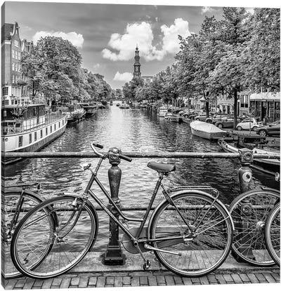 Typical Amsterdam   Monochrome Canvas Art Print