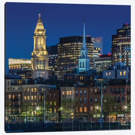 Boston Blue Hour Skyline Canvas Print #MEV507} by Melanie Viola Canvas Wall Art