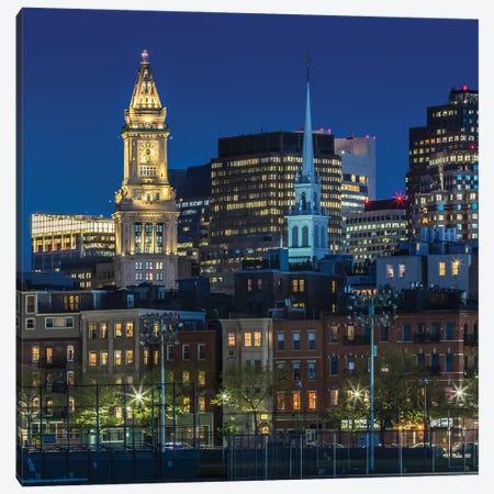 Boston Blue Hour Skyline Canvas Print #MEV507} by Melanie Viola Canvas Wall Art