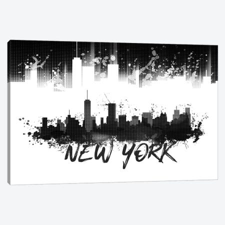 Graphic Art NYC Skyline Splashes In Black Canvas Print #MEV51} by Melanie Viola Art Print