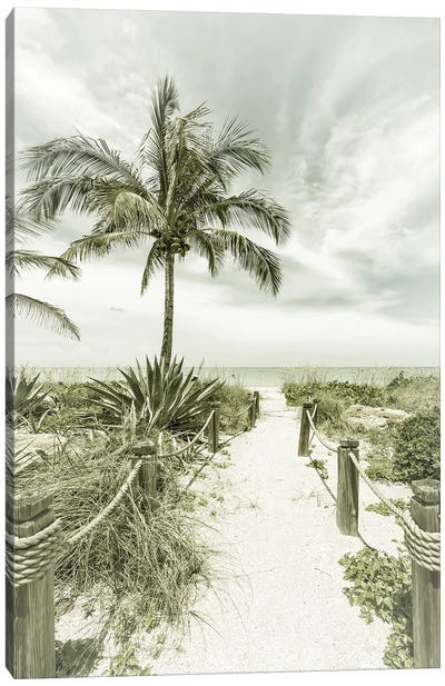 Path To The Beach | Vintage Canvas Art Print