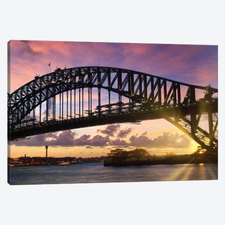 Sydney Harbor Bridge At Sunset Canvas Print #MEV545} by Melanie Viola Canvas Artwork