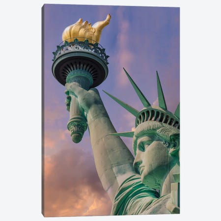 New York City Statue Of Liberty At Sunset Canvas Print #MEV547} by Melanie Viola Canvas Artwork