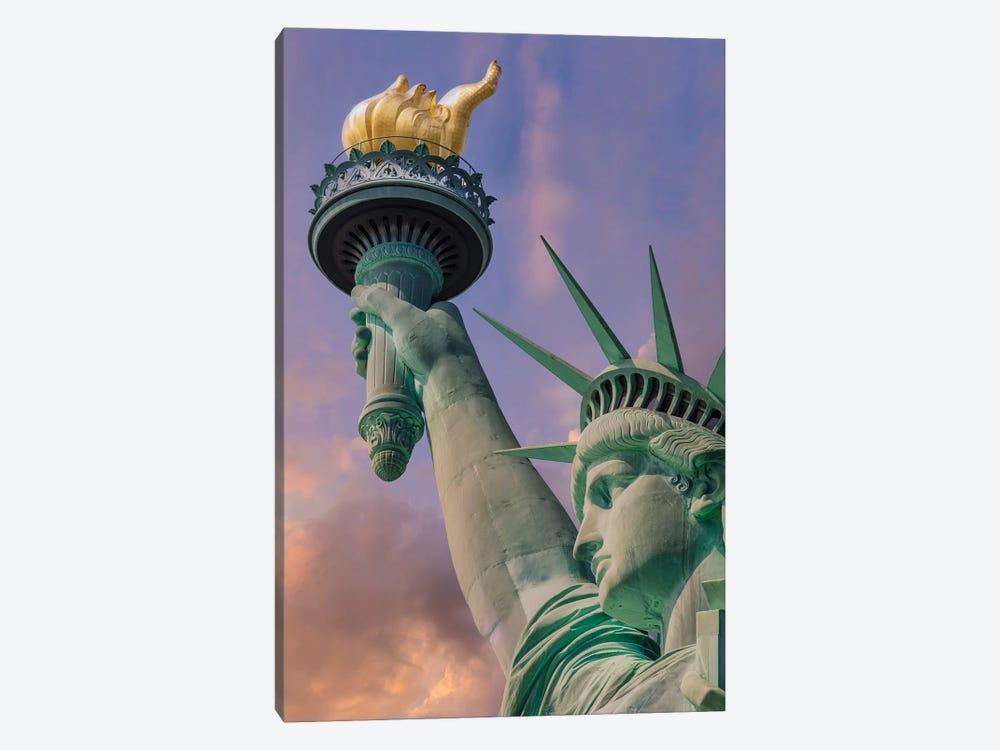 New York City Statue Of Liberty At Sunset by Melanie Viola 1-piece Art Print