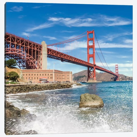 Golden Gate Bridge Coastline Impression Canvas Print #MEV548} by Melanie Viola Canvas Art Print