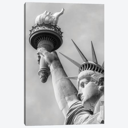 New York City Monochrome Statue Of Liberty Canvas Print #MEV550} by Melanie Viola Canvas Wall Art