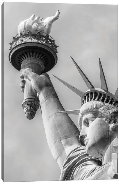 New York City Monochrome Statue Of Liberty Canvas Art Print