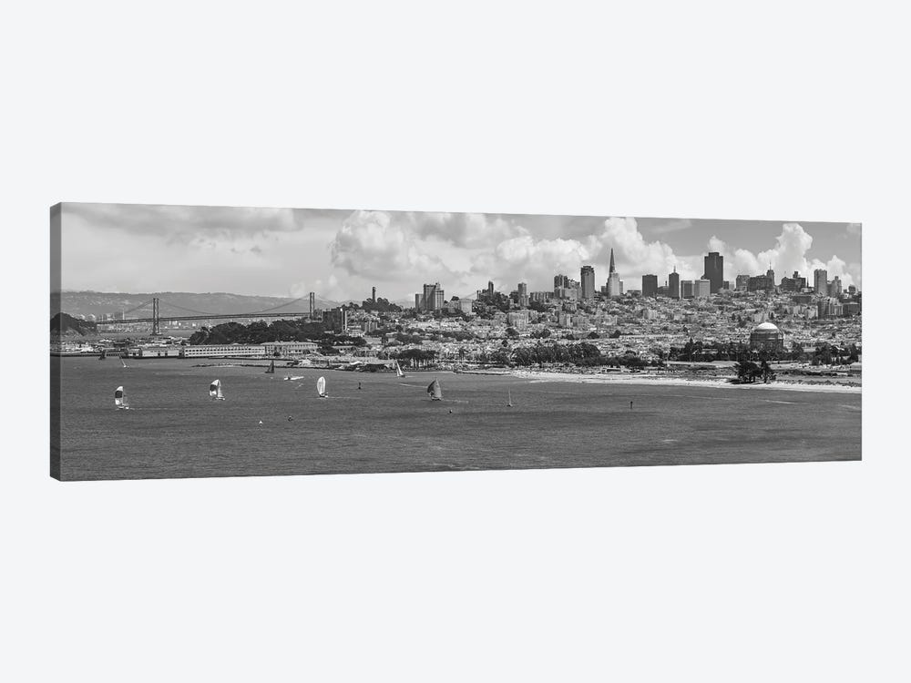 San Francisco Skyline | Monochrome by Melanie Viola 1-piece Canvas Wall Art