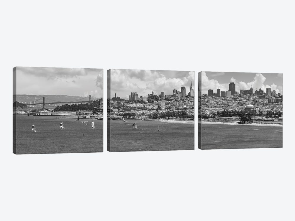 San Francisco Skyline | Monochrome by Melanie Viola 3-piece Canvas Art