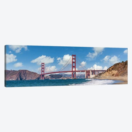 Golden Gate Bridge Baker Beach Panoramic View Canvas Print #MEV552} by Melanie Viola Canvas Wall Art