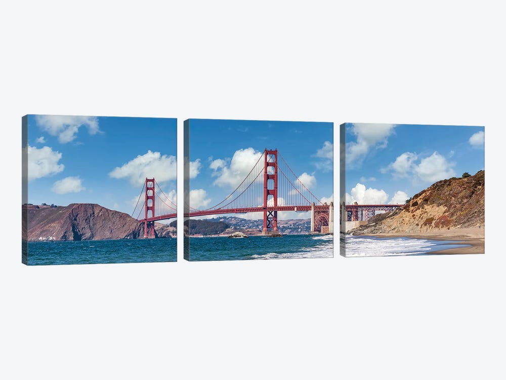 Golden Gate Bridge Baker Beach Panoramic View by Melanie Viola 3-piece Canvas Print