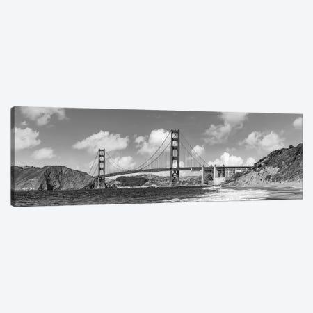 Golden Gate Bridge Baker Beach Panoramic View | Monochrome Canvas Print #MEV553} by Melanie Viola Canvas Art