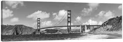 Golden Gate Bridge Baker Beach Panoramic View | Monochrome Canvas Art Print