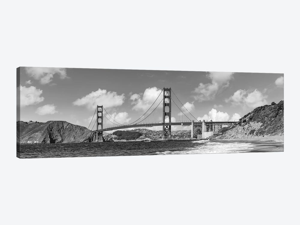 Golden Gate Bridge Baker Beach Panoramic View | Monochrome by Melanie Viola 1-piece Canvas Artwork