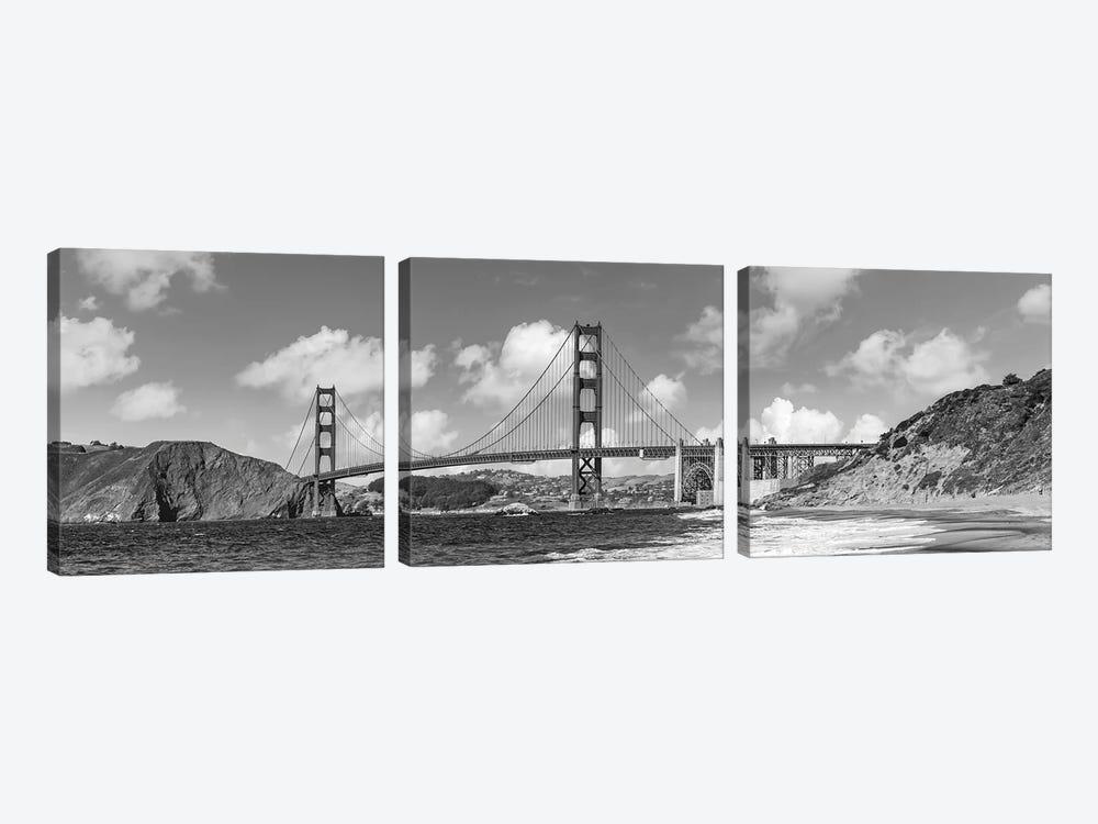 Golden Gate Bridge Baker Beach Panoramic View | Monochrome by Melanie Viola 3-piece Canvas Wall Art