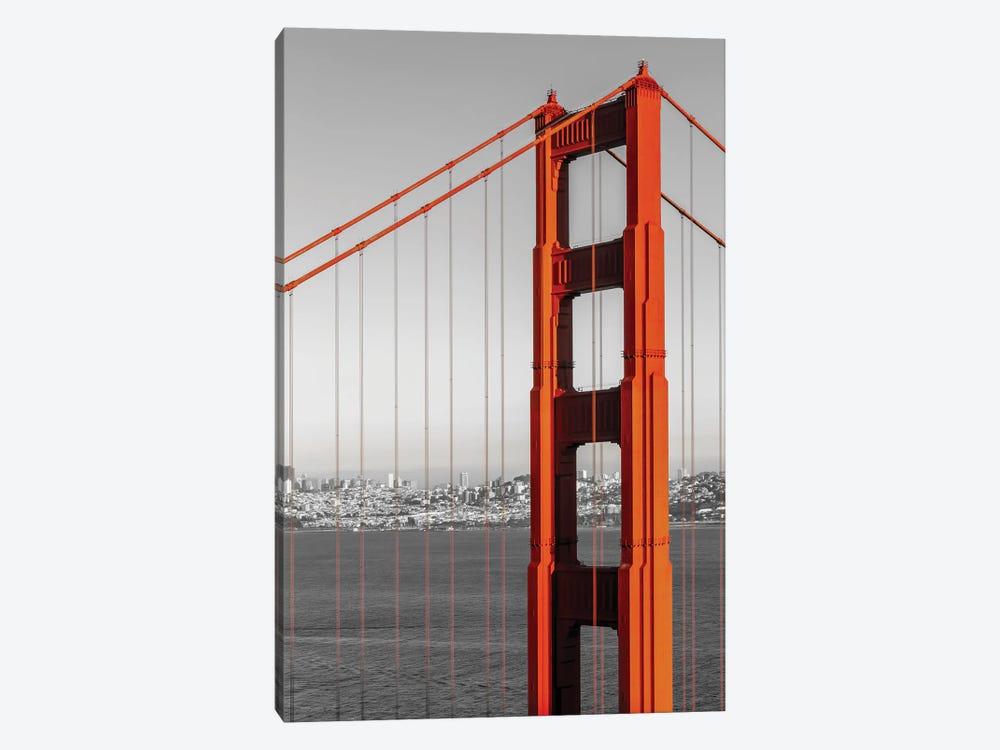 San Francisco Golden Gate Bridge And Skyline   Colorkey by Melanie Viola 1-piece Canvas Art Print