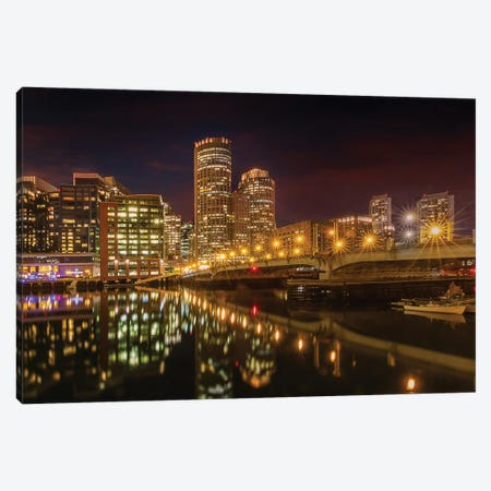 Boston Harborwalk Nightscape Canvas Print #MEV557} by Melanie Viola Art Print