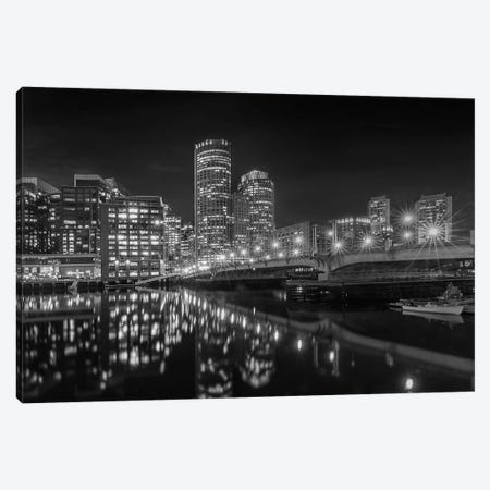 Boston Harborwalk Nightscape | Monochrome Canvas Print #MEV558} by Melanie Viola Canvas Artwork