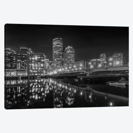Boston Harborwalk Nightscape | Monochrome Canvas Print #MEV558} by Melanie Viola Canvas Artwork
