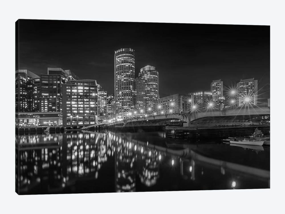 Boston Harborwalk Nightscape | Monochrome by Melanie Viola 1-piece Canvas Art Print