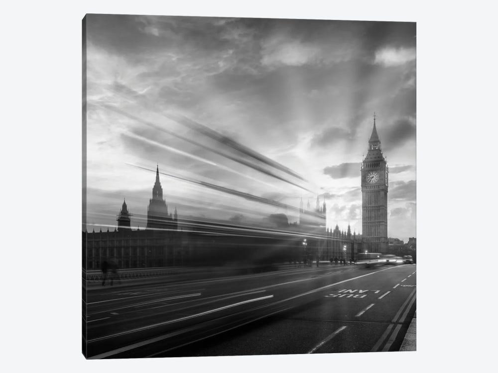Westminster Evening Mood   Monochrome by Melanie Viola 1-piece Canvas Artwork