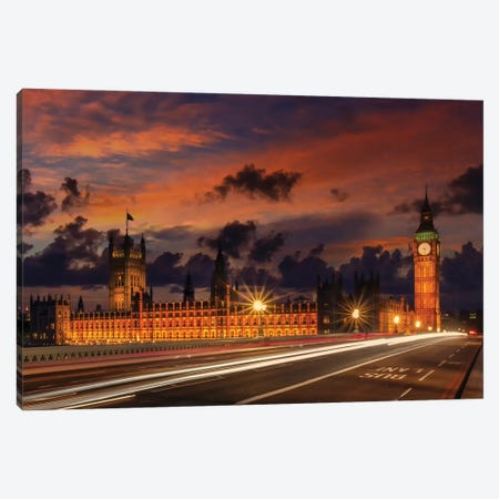 Nightly View From London Westminster Canvas Print #MEV563} by Melanie Viola Canvas Art Print