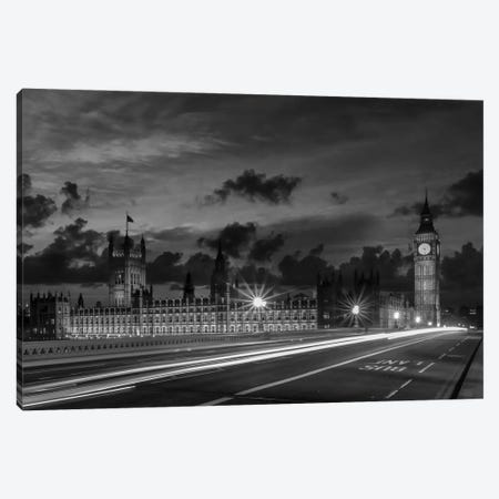 Nightly View From London Westminster | Monochrome Canvas Print #MEV564} by Melanie Viola Canvas Wall Art