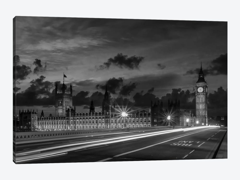 Nightly View From London Westminster | Monochrome by Melanie Viola 1-piece Canvas Wall Art