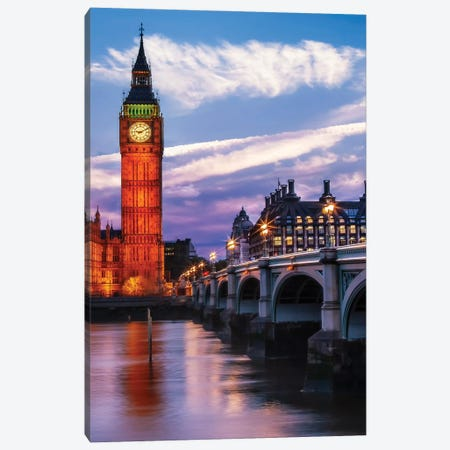 Evening At Westminster Bridge Canvas Print #MEV565} by Melanie Viola Canvas Art