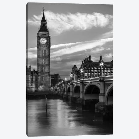 Evening At Westminster Bridge | Monochrome Canvas Print #MEV566} by Melanie Viola Canvas Artwork