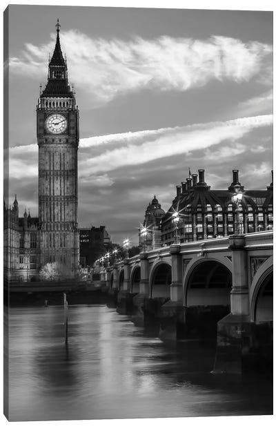 Evening At Westminster Bridge | Monochrome Canvas Art Print