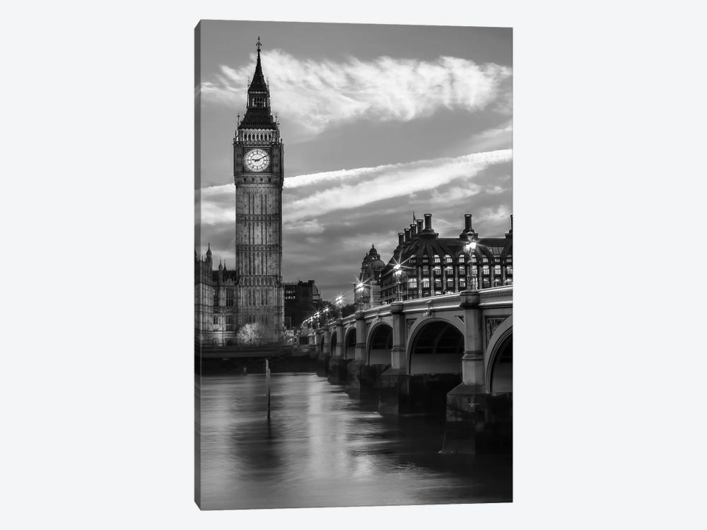 Evening At Westminster Bridge   Monochrome by Melanie Viola 1-piece Canvas Wall Art