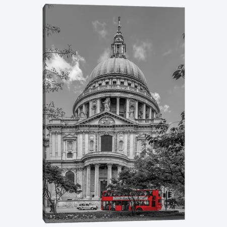 London St. Paul'S Cathedral And Red Bus Canvas Print #MEV570} by Melanie Viola Canvas Wall Art