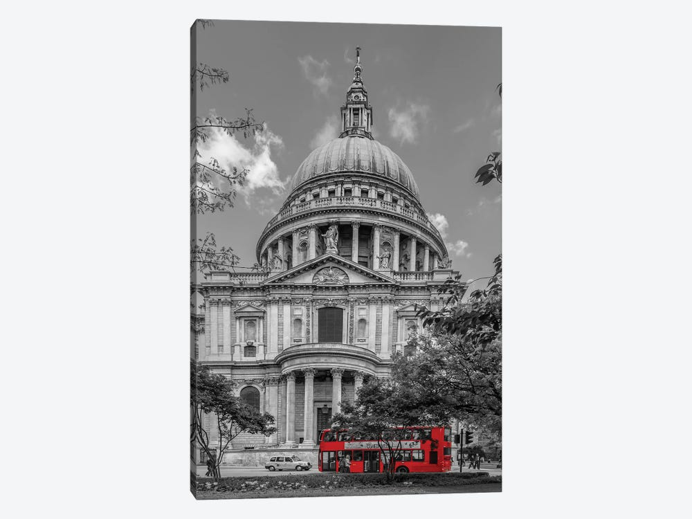London St. Paul'S Cathedral And Red Bus by Melanie Viola 1-piece Art Print