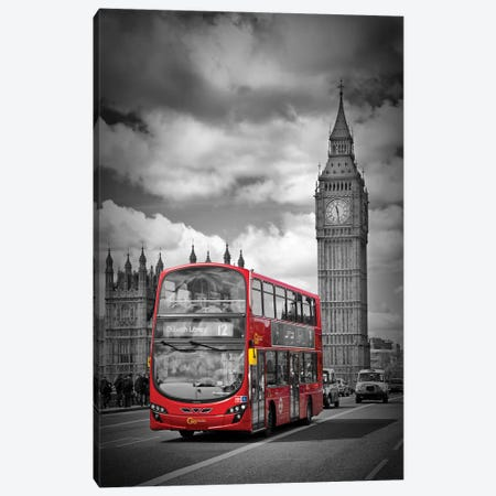 London Houses Of Parliament & Red Bus Canvas Print #MEV57} by Melanie Viola Canvas Artwork