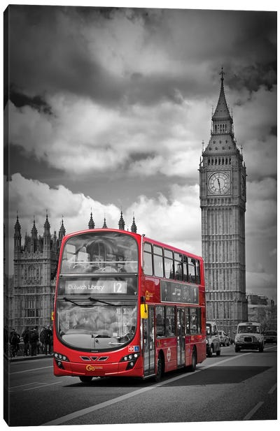 London Houses Of Parliament & Red Bus Canvas Art Print
