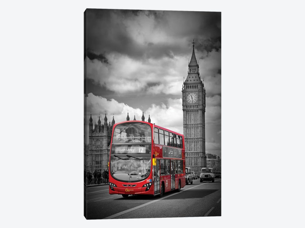 London Houses Of Parliament & Red Bus by Melanie Viola 1-piece Canvas Art