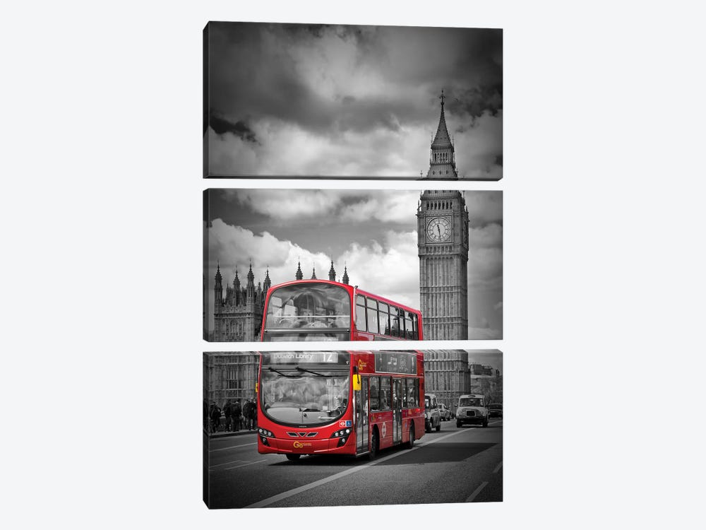 London Houses Of Parliament & Red Bus by Melanie Viola 3-piece Canvas Wall Art