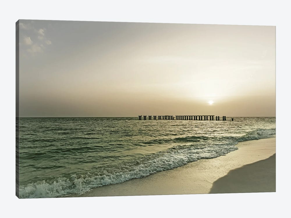 Vintage Gasparilla Island Sunset by Melanie Viola 1-piece Canvas Print