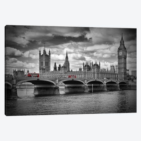 London Houses Of Parliament & Red Buses Canvas Print #MEV58} by Melanie Viola Art Print
