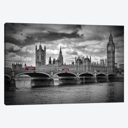 London Houses Of Parliament & Red Buses Canvas Print #MEV58} by Melanie Viola Art Print