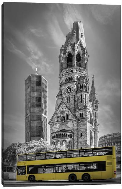 Berlin Kaiser Wilhelm Memorial Church With Bus Canvas Art Print