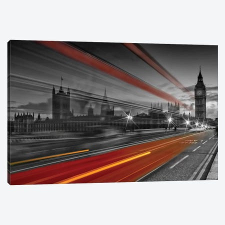 London Westminster Bridge Traffic Canvas Print #MEV59} by Melanie Viola Canvas Art Print