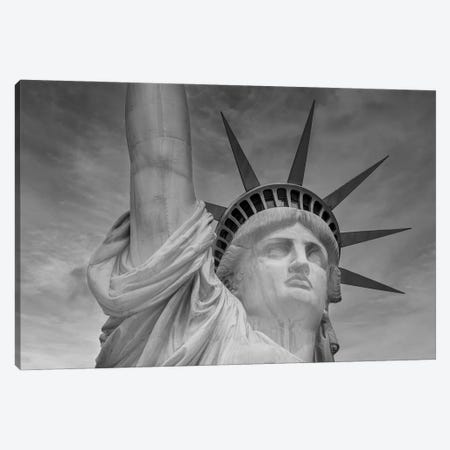 New York City Statue Of Liberty | Monochrome Canvas Print #MEV601} by Melanie Viola Canvas Wall Art